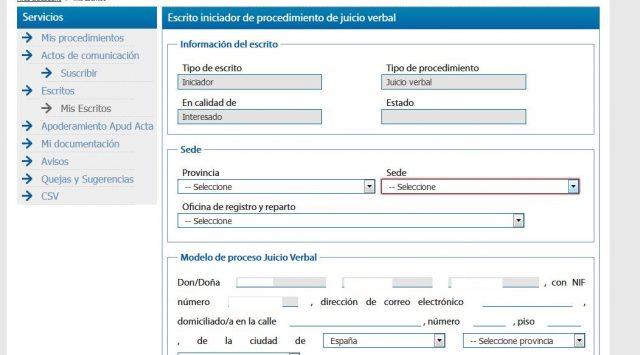 juicio verbal denuncia demanda sede judicial electronica gratis 2000 casa apuesta 10 foronaranja