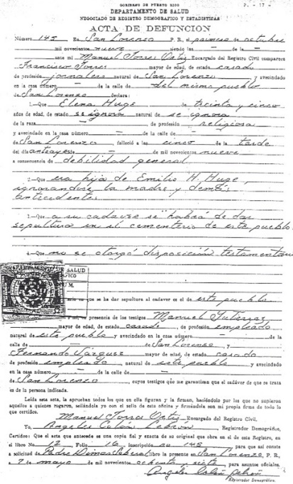 Certificado de defunción de Nuestra Madre, expedido en 1909