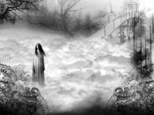 una fantasma en un paisaje helado y puente