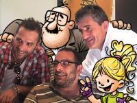 Junto a mis amigos Javier Romañach, Anizeto Calzeta, Victor Monigote y Ruedas el dia que presentamos el libro 'El Misterioso Caso de Los Fantasmas Solitarios' [Clic para ampliar la imagen]