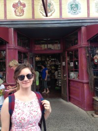 C outside the Harry Potter shop at Movie World