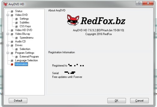 RedFox AnyDVD HD 8.2.2.2 2018 Crack & License Key Free Download