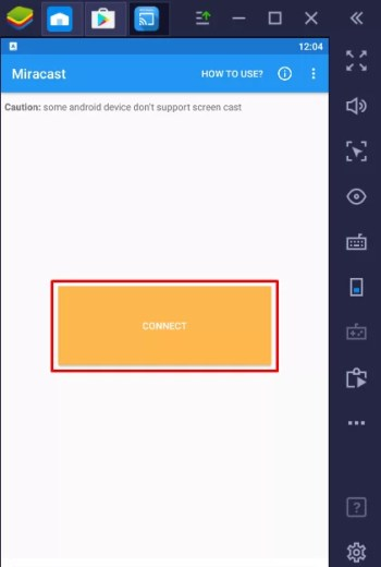 Select Connect in Miracast
