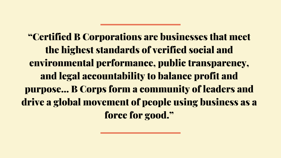 Official definition of B Corporation certification