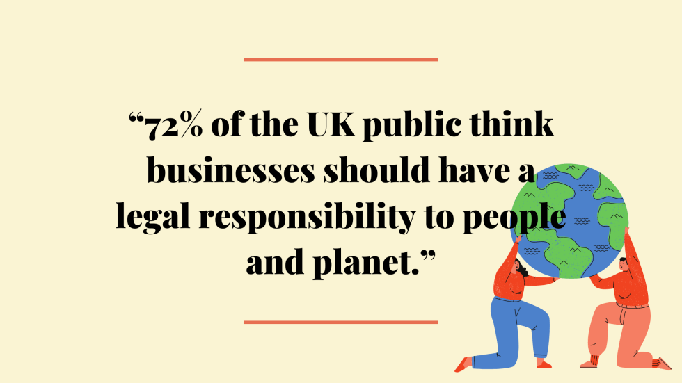 Are B Corps Good? 72% of UK population think business have a responsibility to the planet