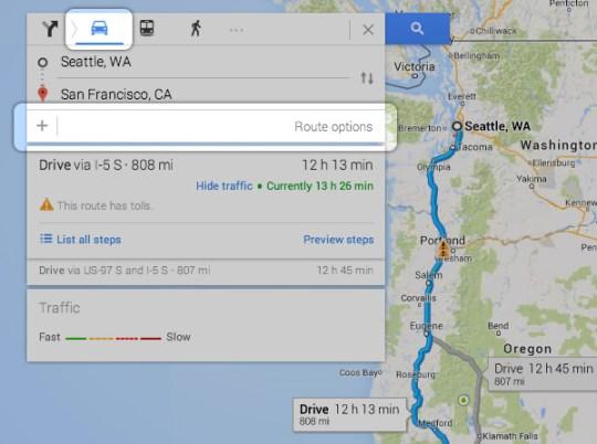 google maps add destination modified search