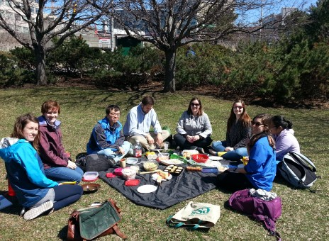 Lab picnic by the canal, April 2016