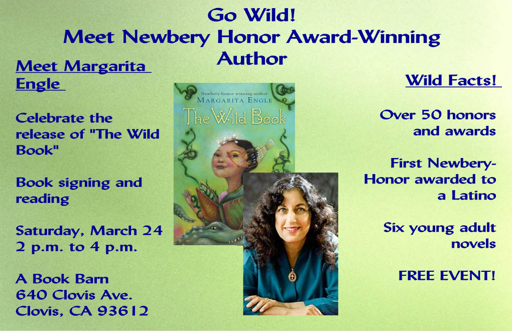 Newbery Honor award-winning author Margarita Engle to hold booksigning in Clovis bookstore
