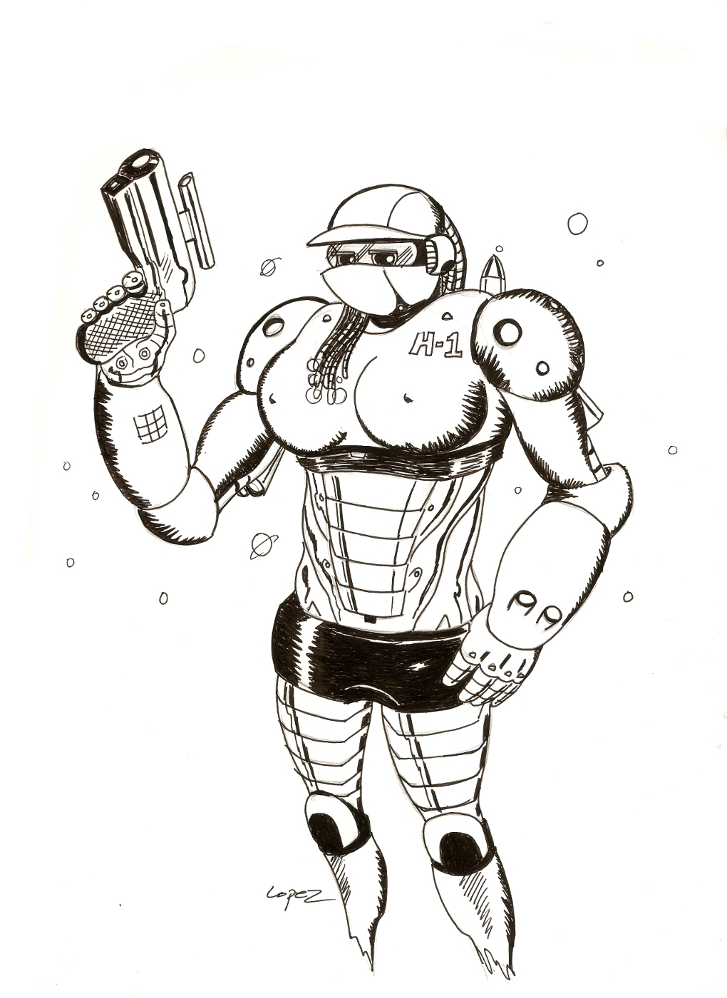 Busty Robo H-1 for Inktober