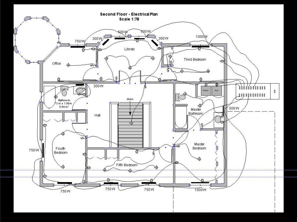 medium resolution of second floor electric drawing