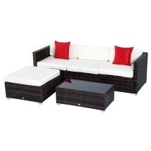 Outsunny 5pc Outdoor Rattan Wicker Sofa