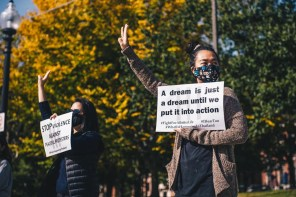 Thai residents in Boston, USA, rally in support of pro democracy protesters in Thailand