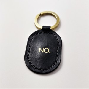 luxury black keychain handmade and hand stitched. No brass but with solid brass.