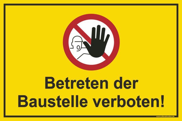 Betreten der Baustelle verboten Schild