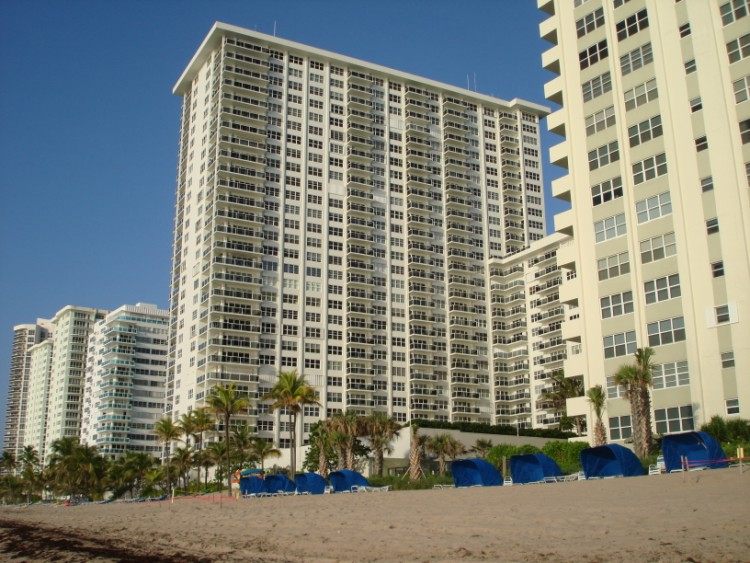 View of Galt Ocean Mile condominiums including Ocean Riviera from Fort Lauderdale Beach