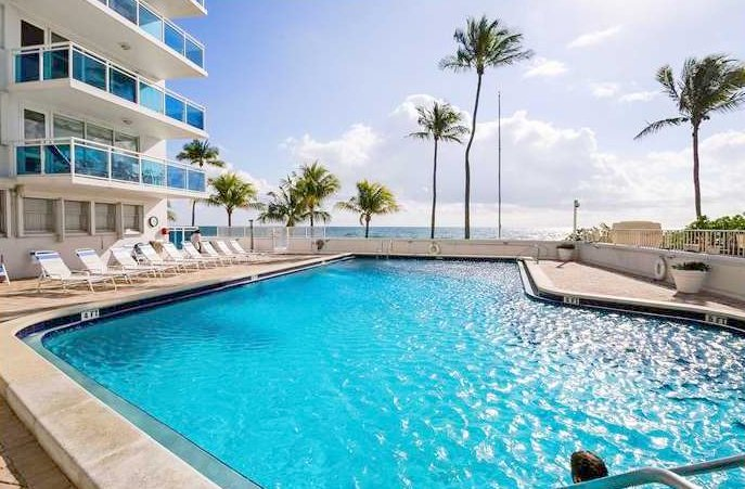 Pool views from Fort Lauderdale condo for sale in The Commodore
