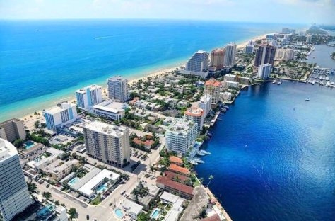 Aerial view of Fort Lauderdale Beach condos for sale