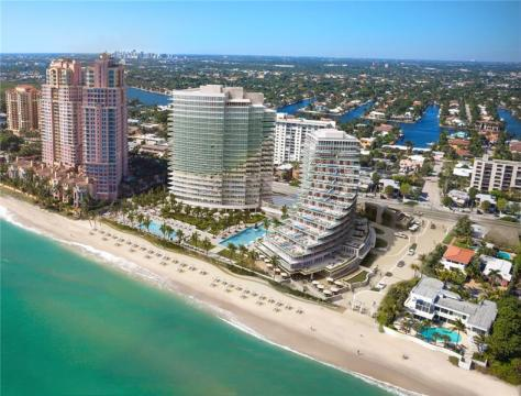 Aerial view Fort Lauderdale luxury oceanfront condos for sale