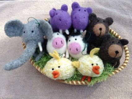 Art Jennifer Berger ornaments backet of mixed animals