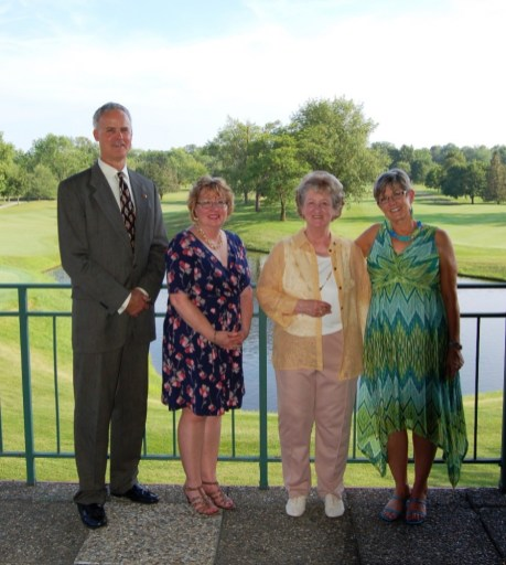 Larry Mayers with winners Pam Brookshire, Loretta Loy and Bev Goff