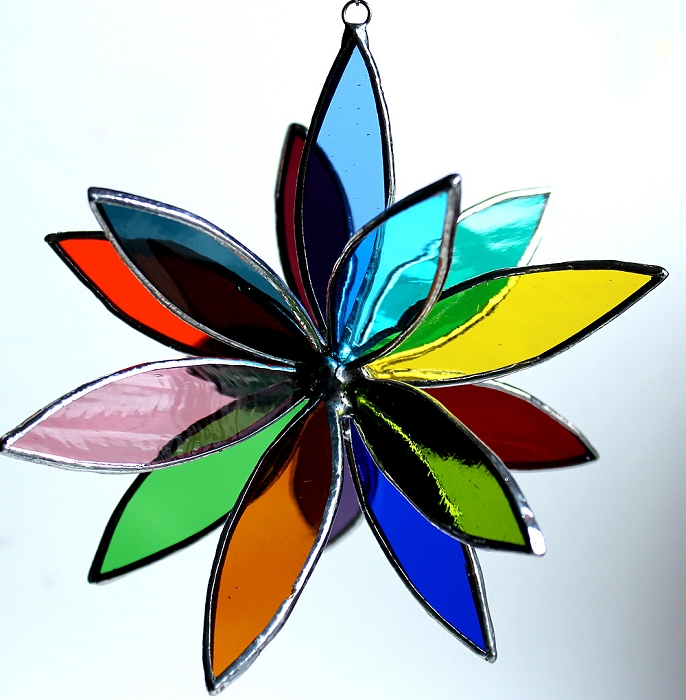Art LA glass studio 3D rainbow star