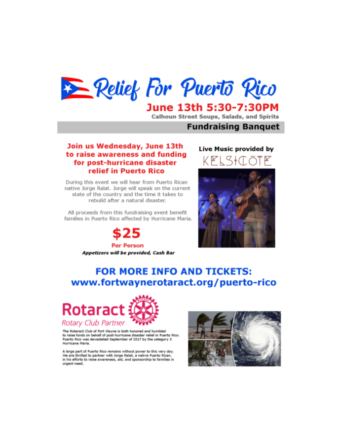 Rotaract Club Of Fort Wayne To Host Relief For Puerto Rico Benefit June 13th