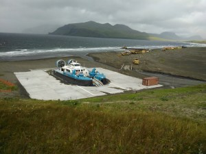 Docked hovercraft ferry