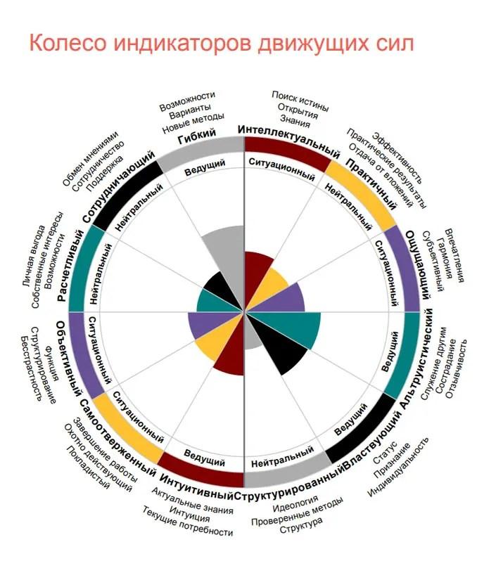 Оценка DISC колесо индикаторов движущих сил