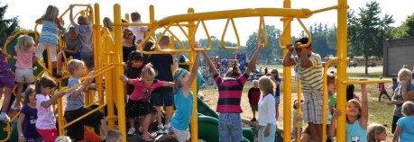 Playground equipment at Purdy School