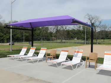 Shade sails at the Fort Aquatic Center