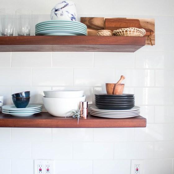 open kitchen shelving after kitchen remodel
