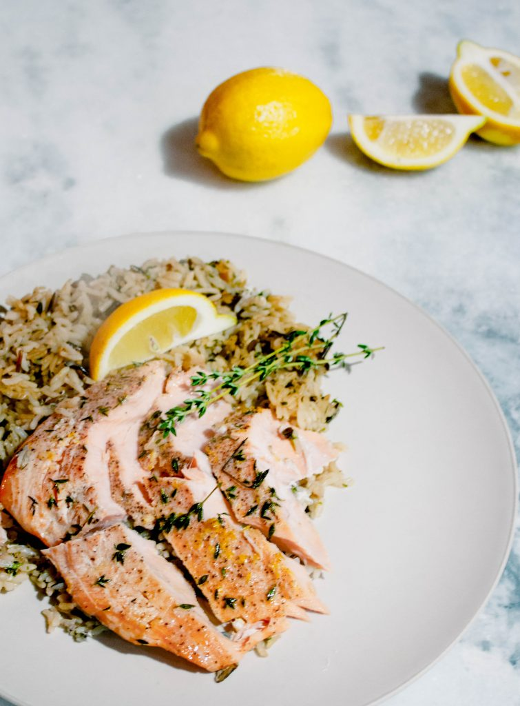 healthy salmon rice dinner recipe