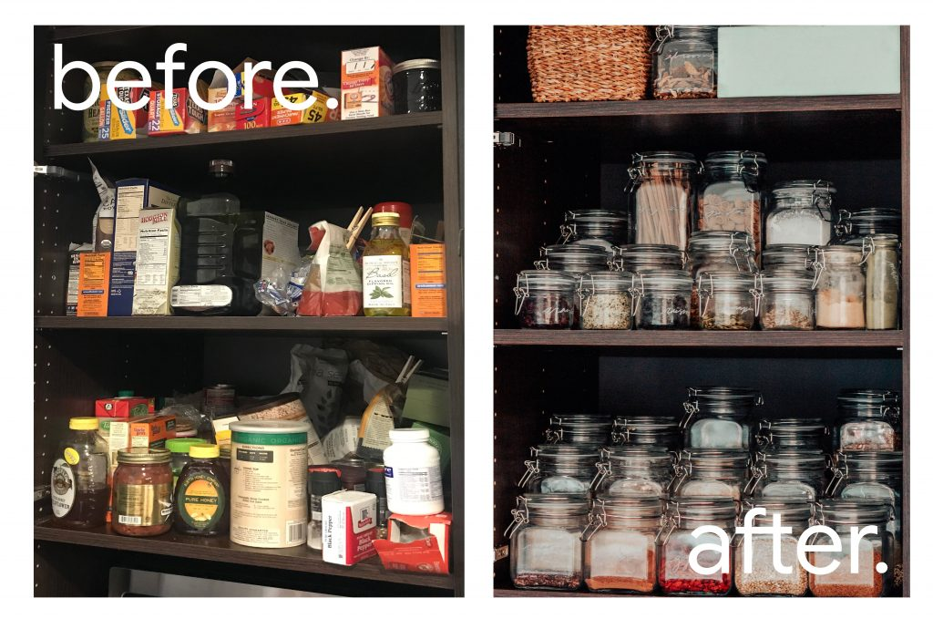 kitchen pantry organization: before and after