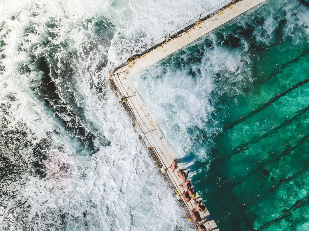 view of bondi pool from above