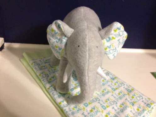 Levi's baby blanket and stuffed elephant made by Aunt Melissa