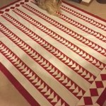 red and white quilt, flying geese quilt, paper pieced quilt
