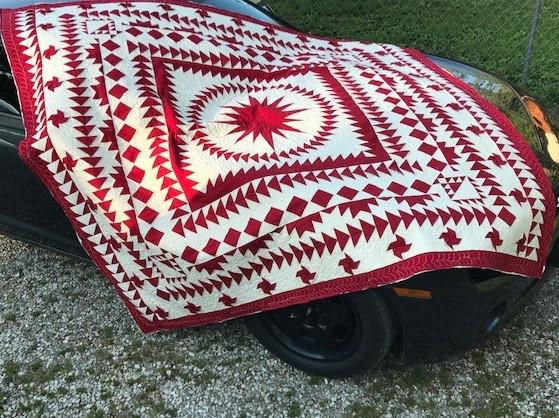 red and white quilt, nostalgia twist quilt