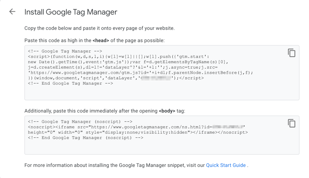 google tag manager snippet to add in your website