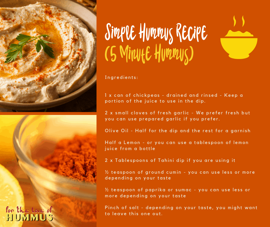 Easy 5 minute hummus recipe