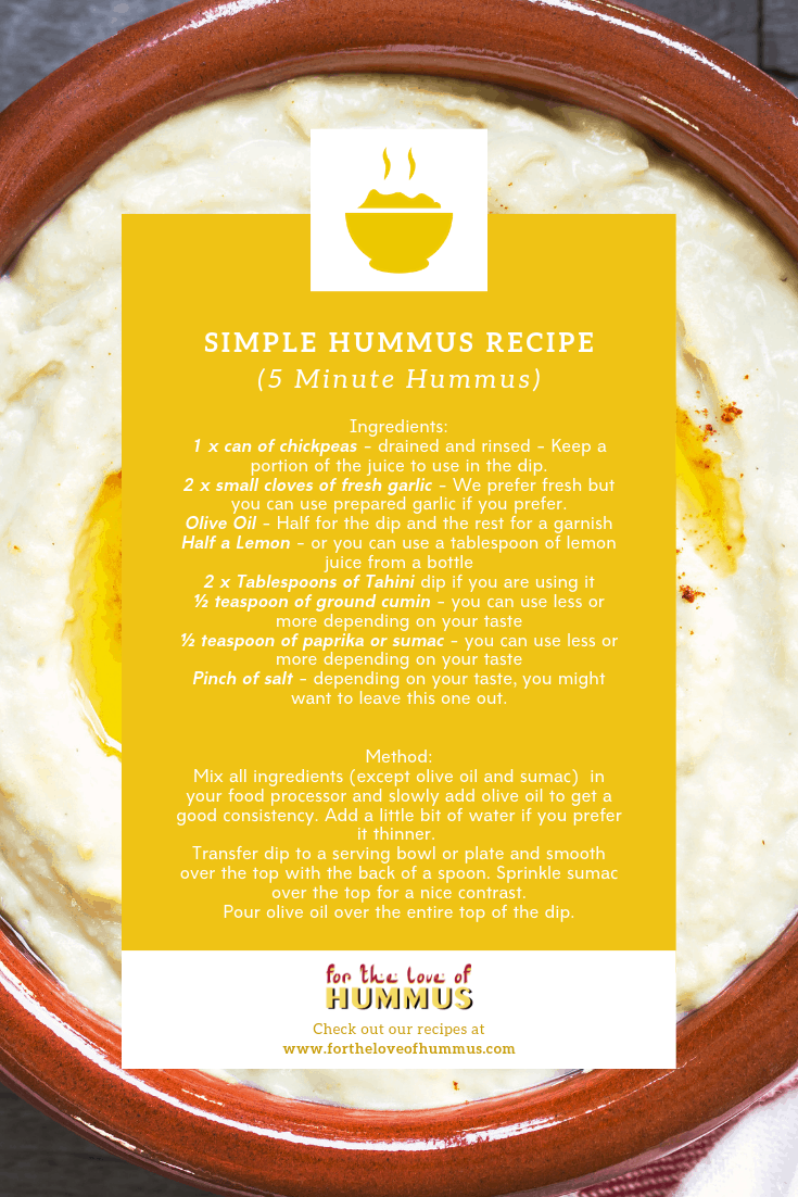 5 minute simple hummus recipe