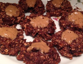 Chocolate Banana Oat Cookies with Chocolate Chips and Peanut Butter