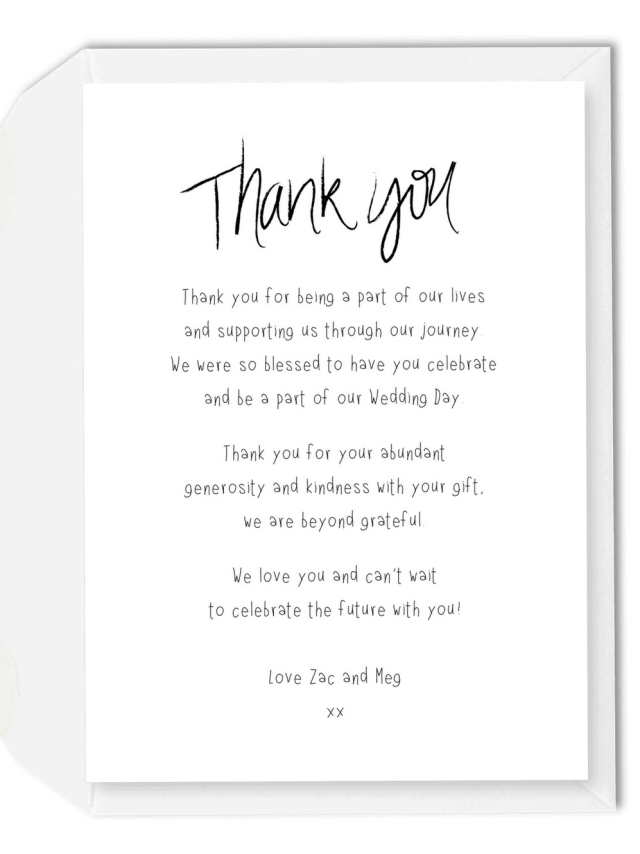 28 Wedding Thank You Cards Wording Samples from Bride and Groom