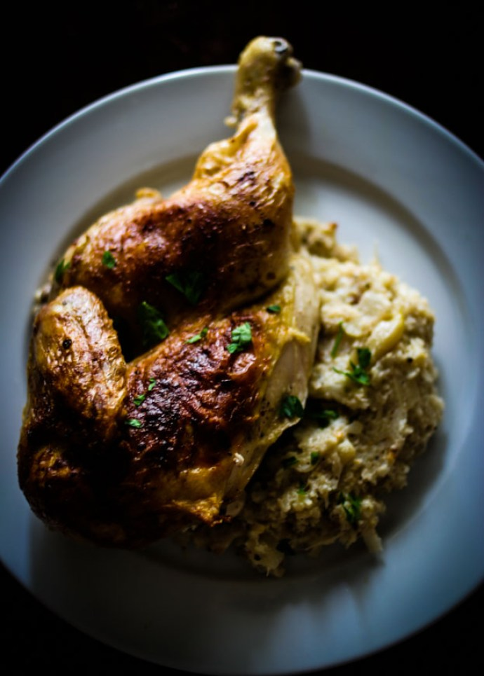 Roasted Chicken with Cauliflower Mash