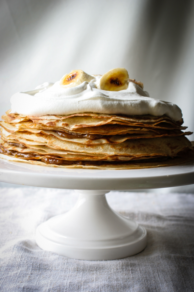 Bananas Foster Crepe Cake with Bananas