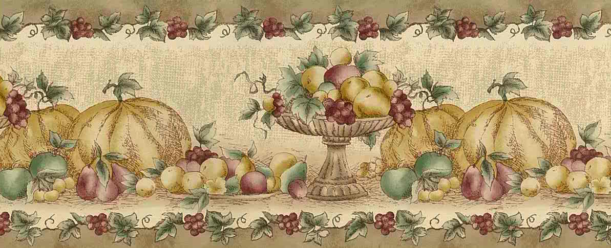 Fall And Thangsgiving Wallpaper Fall Fruit Vintage Wallpaper Border Beige Kitchen 92 04257