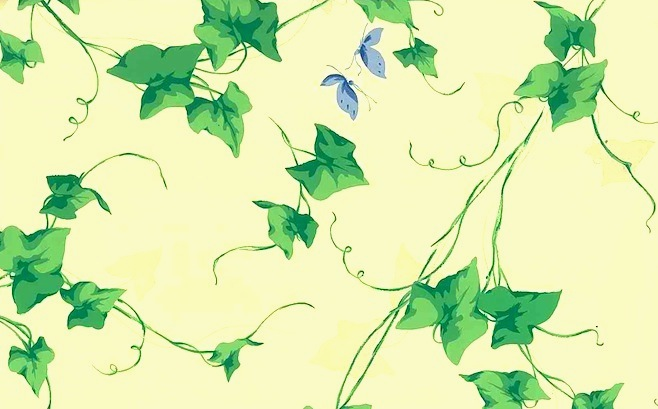 green ivy leaf wallpaper, yellow