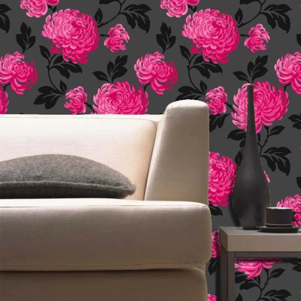 2017 wallpaper design trends, black, red, large-scale floral