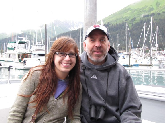 My dad and me on our boat in Seward to go out into the Kenai Fjords