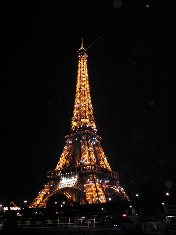 The Eiffel Tower all lit up!