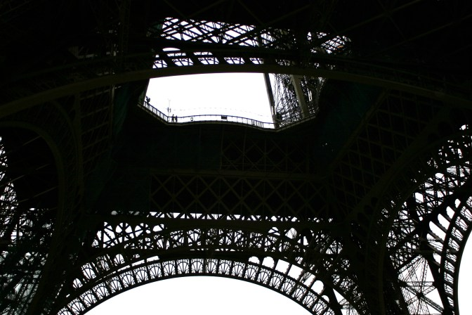 Looking up the skirt of the Eiffel Tower.